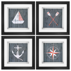 Propac Nautical Plank Wall Art Set of 4
