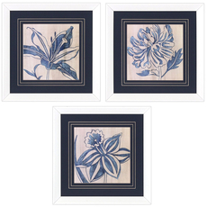 Propac Small Indigo Floral Wall Art Set of 3