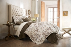 Peacock Alley Alena Printed Sateen Queen Duvet Cover in Linen