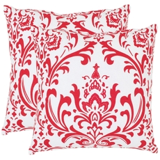 Safavieh Belos 22 Inch Red and White Decorative Pillows Set of 2