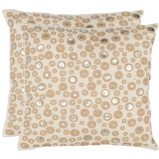 Safavieh Bianca 18 Inch Creme Decorative Pillows Set of 2