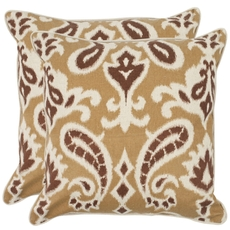Safavieh Brian 18 Inch Desert Brown Decorative Pillows Set of 2