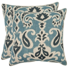 Safavieh Brian 18 Inch Porch Blue Decorative Pillows Set of 2