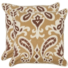 Safavieh Brian 22 Inch Desert Brown Decorative Pillows Set of 2