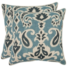 Safavieh Brian 22 Inch Porch Blue Decorative Pillows Set of 2