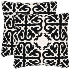 Safavieh Caspar 22 Inch Black Decorative Pillows Set of 2