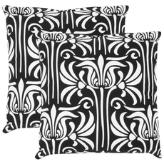 Safavieh Damia 18 Inch Black and White Decorative Pillows Set of 2