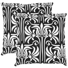 Safavieh Damia 22 Inch Black and White Decorative Pillows Set of 2