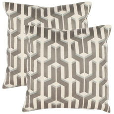 Safavieh Dawson 18 Inch Silver Blue Decorative Pillows Set of 2