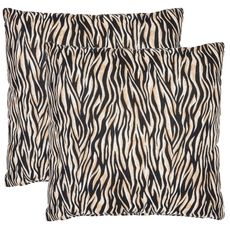 Safavieh Drake Zebra 18 Inch Ivory and Black Decorative Pillows Set of 2
