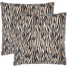 Safavieh Drake Zebra 22 Inch Ivory and Black Decorative Pillows Set of 2