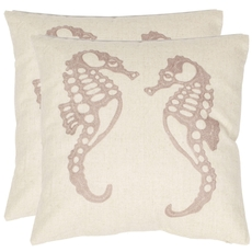 Safavieh Eldon 18 Inch Cream and Taupe Decorative Pillows Set of 2