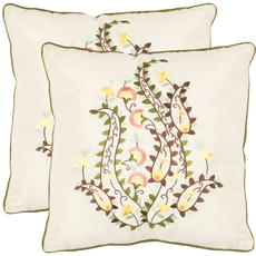Safavieh Emiliano 18 Inch Creme Decorative Pillows Set of 2