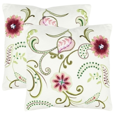 Safavieh Esmeralda 18 Inch Rose and Cream Decorative Pillows Set of 2