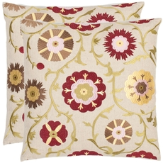 Safavieh Gardens 18 Inch Cream and Red Decorative Pillows Set of 2