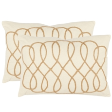 Safavieh Gia White and Wheat Decorative Pillows Set of 2