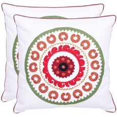 Safavieh Jasmine 18 Inch Red Decorative Pillows Set of 2