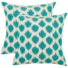 Safavieh Jillian 18 Inch Aqua Blue Decorative Pillows Set of 2