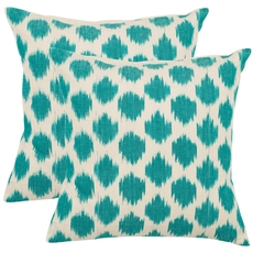 Safavieh Jillian 22 Inch Aqua Blue Decorative Pillows Set of 2