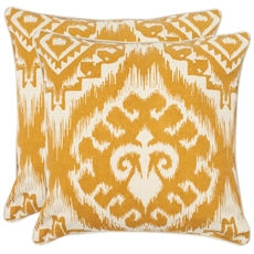 Safavieh Josh 22 Inch Saffron Decorative Pillows Set of 2