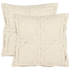 Safavieh Kendra 18 Inch Beige Decorative Pillows Set of 2