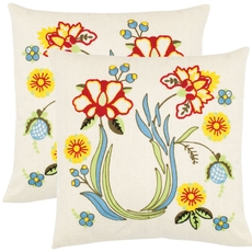 Safavieh Kiara 18 Inch Creme Decorative Pillows Set of 2