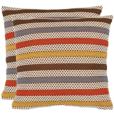 Safavieh Leslie 18 Inch Brown Decorative Pillows Set of 2