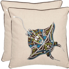 Safavieh Ocean Stingray 18 Inch Cream and Brown Decorative Pillows Set of 2