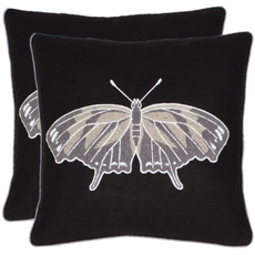 Safavieh Orchard Butterfly 18 Inch Navy Blue and Grey Decorative Pillows Set of 2