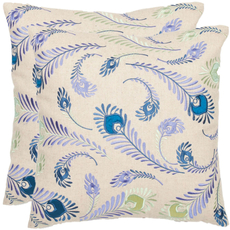 Safavieh Peacock Feathers 18 Inch Cream and Blue Decorative Pillows Set of 2