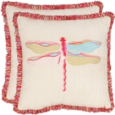 Safavieh Rising Dragonfly 18 Inch Beige and Red Decorative Pillows Set of 2