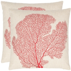 Safavieh Robin 18 Inch Beach Red Decorative Pillows Set of 2