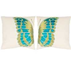 Safavieh Royal Butterfly 18 Inch Cream and Blue Decorative Pillows Set of 2