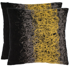 Safavieh Simon 18 Inch Yellow and Onyx Decorative Pillows Set of 2