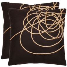 Safavieh Thornton 18 Inch Brown and Tan Decorative Pillows Set of 2