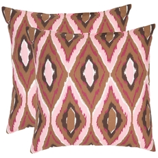 Safavieh Tristan 18 Inch Brown and Pink Decorative Pillows Set of 2