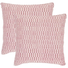 Safavieh Walter 22 Inch Red and Ivory Decorative Pillows Set of 2