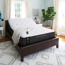 King Sealy Posturepedic Response Performance Mountain Ridge IV Cushion Firm Euro Top Mattress with Ergo Extend Adjustable Base