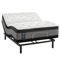King Sealy Posturepedic Response Performance Mountain Ridge IV Cushion Firm Pillow Top 13.5 Inch Mattress with Ergo Extend Adjustable Base