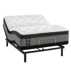 Queen Sealy Posturepedic Response Performance Mountain Ridge IV Plush Pillow Top 13.5 Inch Mattress with Ergo Adjustable Base