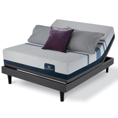 King Serta iComfort Blue 500 Plush Mattress with Motion Custom II Adjustable Base