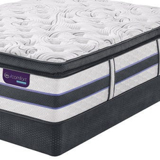 Queen Serta iComfort Hybrid HB700Q Super Pillow Top Mattress with Motion Custom II Adjustable Base