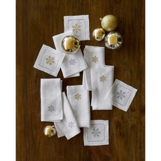 SFERRA Frosts Set of 4 Cocktail Napkin in White/Gold