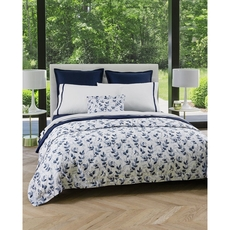 SFERRA Jatelli Queen Fitted Sheet in White/Navy