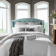 SFERRA Cade King Duvet Cover in White/Taupe