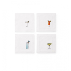 SFERRA Bevande Set of Four 6 Inch Cocktail Napkin in White Multi