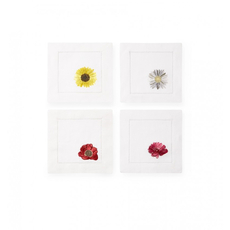 SFERRA Fiori 6 Inch Set of Four Cocktail Napkin in White Multi