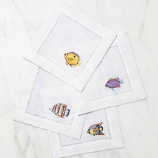 SFERRA Fishtails Set of 4 Cocktail Napkins