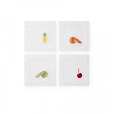 SFERRA Frutta Set of Four 6 Inch Cocktail Napkin in White Multi