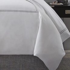 Clearance SFERRA Grande Hotel Twin Duvet Cover in White with White Stitching OVLB0818041